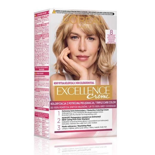 L'Oreal Paris Excellence Hair Color 8 Light Blond  (Matu krāsa)