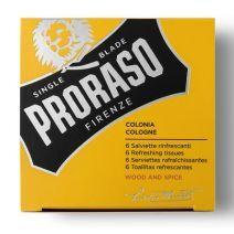 Proraso Refreshing Tissue Wood & Spice  (Atsvaidzinošas salvetes ar odekolona aromātu)