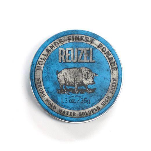 Reuzel Blue Strong Hold High Sheen Pomade   (Pomāde matiem stiprai fiksācijai)
