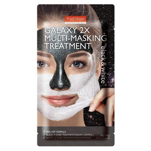 Purederm Galaxy 2x Multi-Masking Treatment Black & White  (Mitrinoša sejas maska)