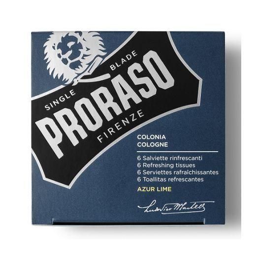 Proraso Refreshing Tissue Azur Lime   (Atsvaidzinošas salvetes ar odekolona aromātu)