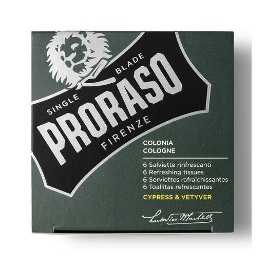 Proraso Refreshing Tissue Cypress & Vetyver  (Atsvaidzinošas salvetes ar odekolona aromātu)