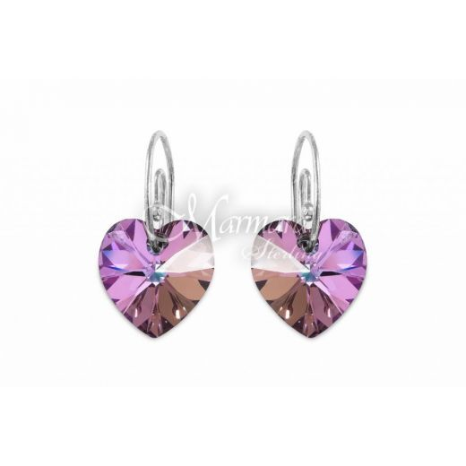 Marmara Sterling Heart Earrings - Vitrail Light (Auskari ar Swarovski Elementiem)