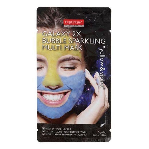 Purederm Galaxy 2x Bubble Sparkling Multi Mask Yellow & Violet  (Attīroša sejas maska)