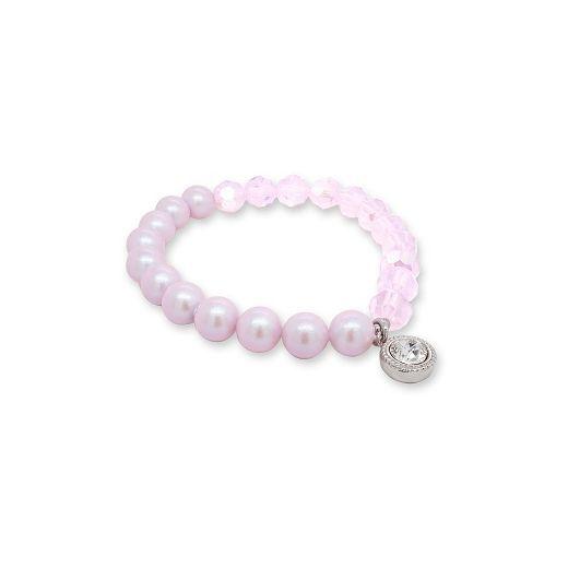 Marmara Sterling Pink Crystal-Pearl Bracel  (Rokassprādze ar pērlēm un kristāliem)